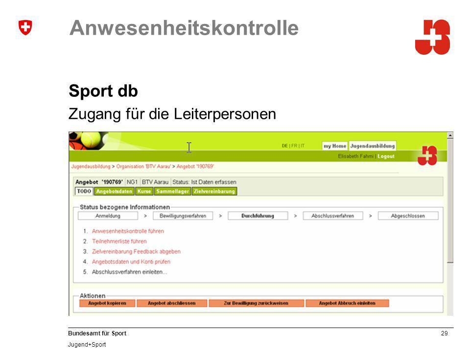 29 Bundesamt für Sport Jugend+Sport Anwesenheitskontrolle Sport db Zugang für die Leiterpersonen