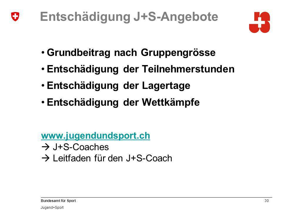 30 Bundesamt für Sport Jugend+Sport Entschädigung J+S-Angebote Grundbeitrag nach Gruppengrösse Entschädigung der Teilnehmerstunden Entschädigung der Lagertage Entschädigung der Wettkämpfe www.jugendundsport.ch www.jugendundsport.ch J+S-Coaches Leitfaden für den J+S-Coach