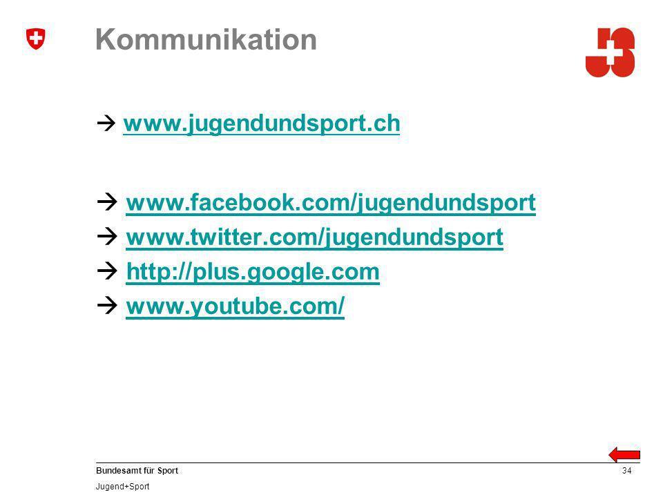34 Bundesamt für Sport Jugend+Sport Kommunikation www.jugendundsport.ch www.facebook.com/jugendundsport www.twitter.com/jugendundsport http://plus.google.com www.youtube.com/