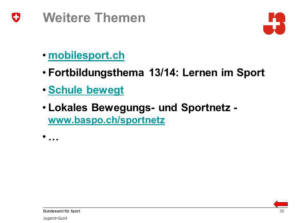 35 Bundesamt für Sport Jugend+Sport Weitere Themen mobilesport.ch Fortbildungsthema 13/14: Lernen im Sport Schule bewegt Lokales Bewegungs- und Sportnetz - www.baspo.ch/sportnetz www.baspo.ch/sportnetz …