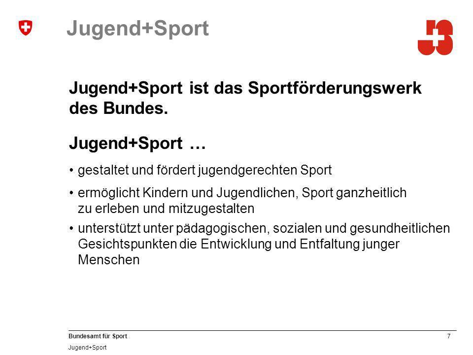 7 Bundesamt für Sport Jugend+Sport Jugend+Sport ist das Sportförderungswerk des Bundes.