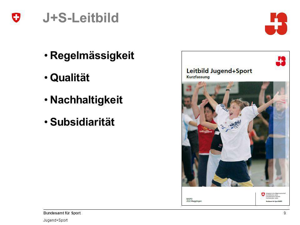 9 Bundesamt für Sport Jugend+Sport J+S-Leitbild Regelmässigkeit Qualität Nachhaltigkeit Subsidiarität