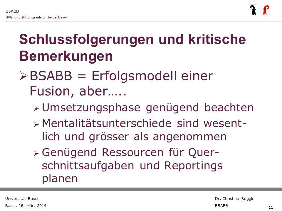 BSABB BVG- und Stiftungsaufsicht beider Basel Universität Basel Basel, 28. März 2014 Dr. Christina Ruggli BSABB 11 Schlussfolgerungen und kritische Be