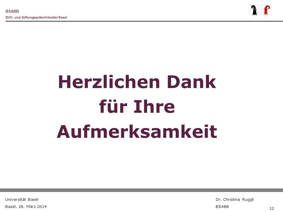 BSABB BVG- und Stiftungsaufsicht beider Basel Universität Basel Basel, 28. März 2014 Dr. Christina Ruggli BSABB 12 Herzlichen Dank für Ihre Aufmerksam