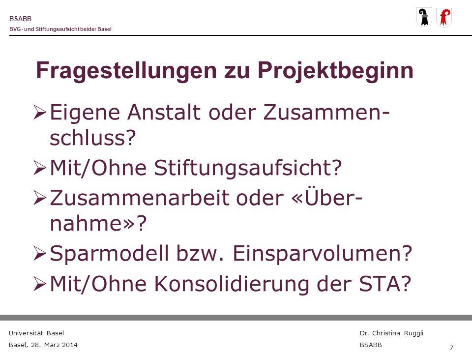BSABB BVG- und Stiftungsaufsicht beider Basel Universität Basel Basel, 28. März 2014 Dr. Christina Ruggli BSABB 7 Fragestellungen zu Projektbeginn Eig