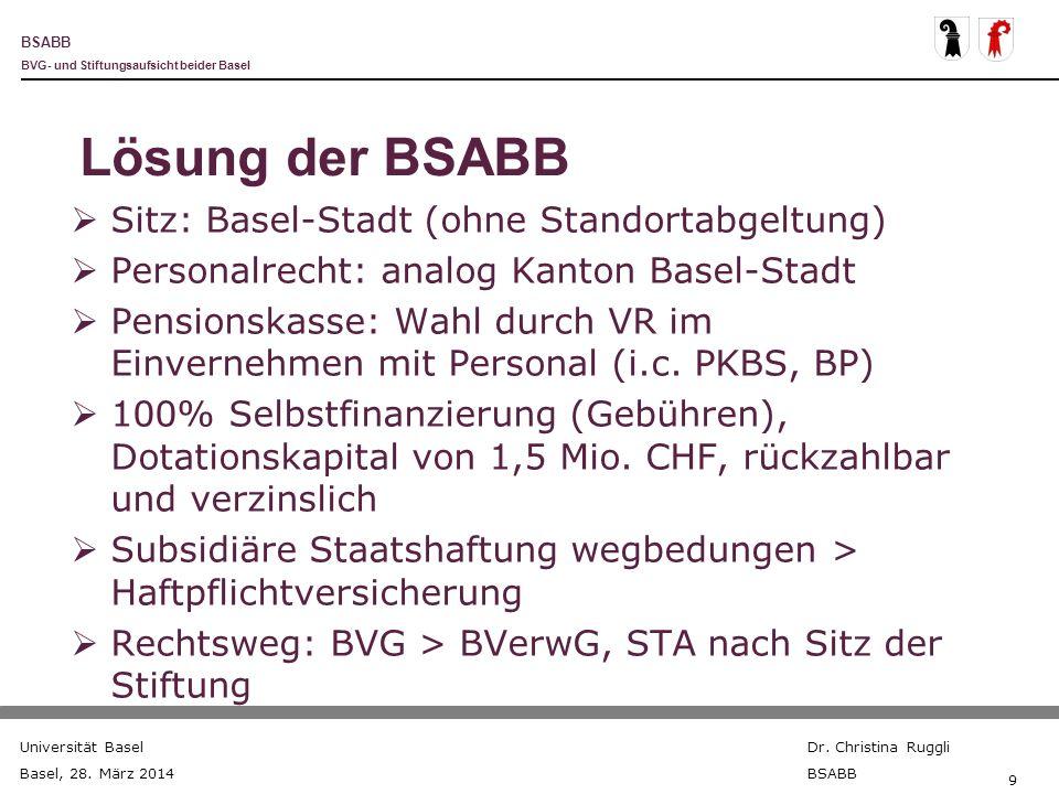 BSABB BVG- und Stiftungsaufsicht beider Basel Universität Basel Basel, 28. März 2014 Dr. Christina Ruggli BSABB 9 Lösung der BSABB Sitz: Basel-Stadt (