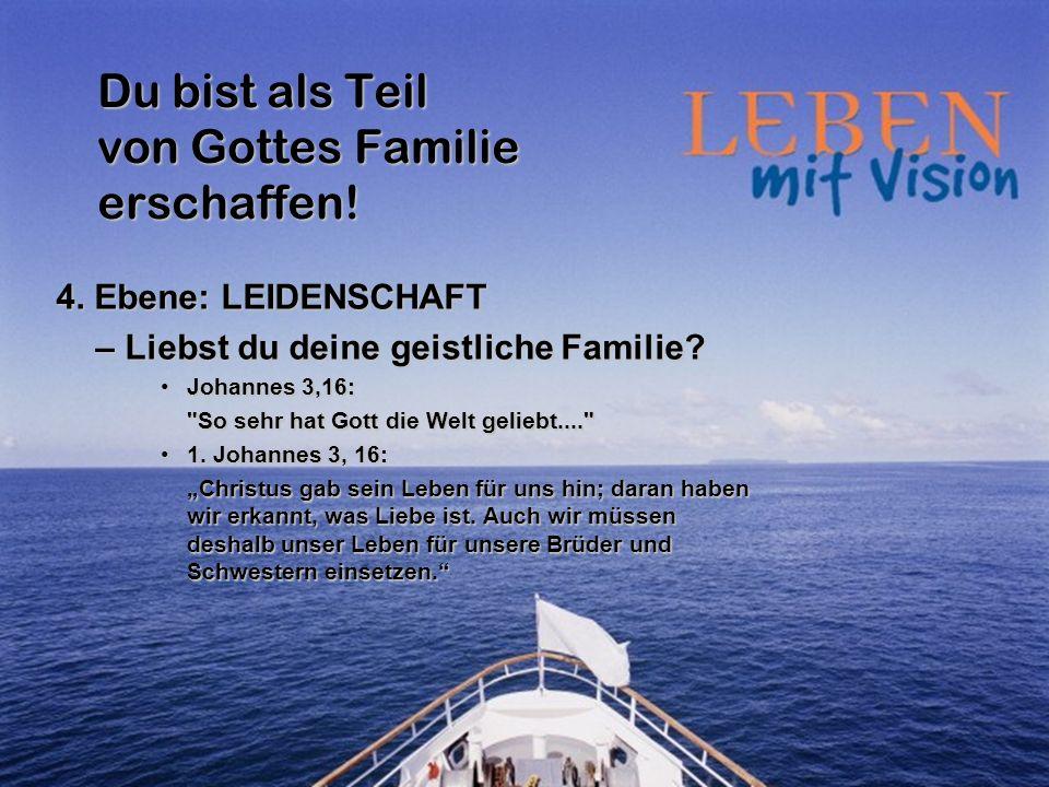 Du bist als Teil von Gottes Familie erschaffen! 4. Ebene: LEIDENSCHAFT – Liebst du deine geistliche Familie? Johannes 3,16:Johannes 3,16: