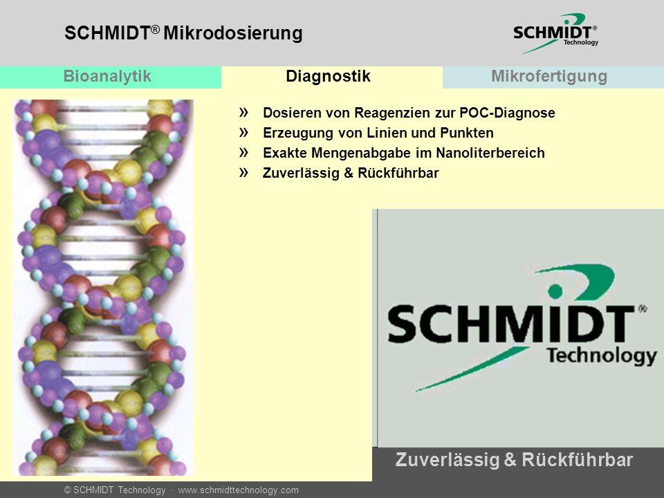 © SCHMIDT Technology · www.schmidttechnology.com SCHMIDT ® Mikrodosierung BioanalytikDiagnostikMikrofertigung » Dosieren von Reagenzien zur POC-Diagno