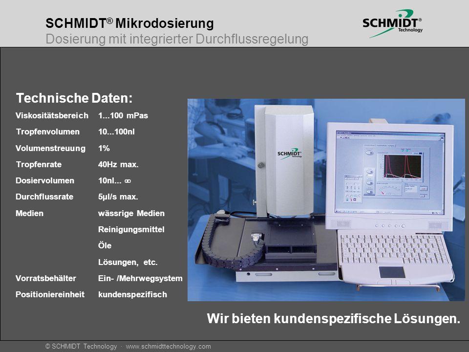 © SCHMIDT Technology · www.schmidttechnology.com SCHMIDT ® Mikrodosierung Dosierung mit integrierter Durchflussregelung Technische Daten: Viskositätsb
