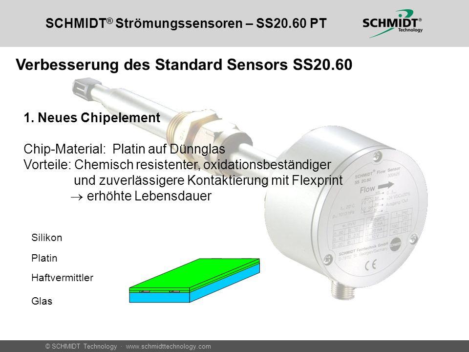 © SCHMIDT Technology · www.schmidttechnology.com SCHMIDT ® Strömungssensoren – SS20.60 PT 1. Neues Chipelement Chip-Material: Platin auf Dünnglas Vort