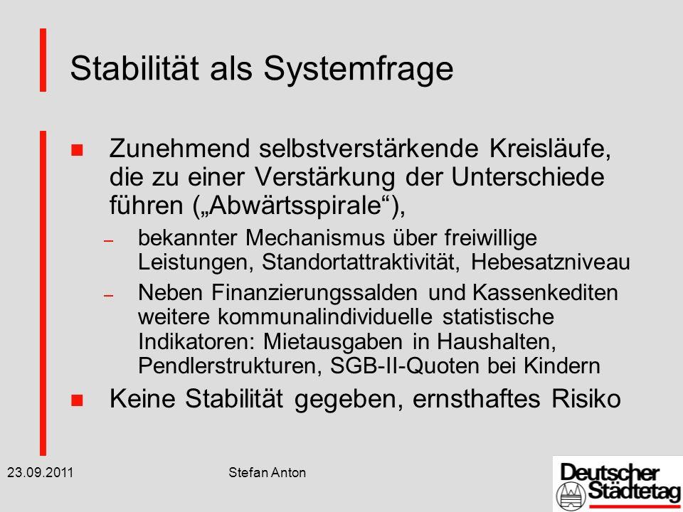 23.09.2011 Stefan Anton Stabilität als Aufgabe n Bekannte kommunale Forderungen zu Konnexität, sozialen Leistungen, KFA, AG Standards u.a.
