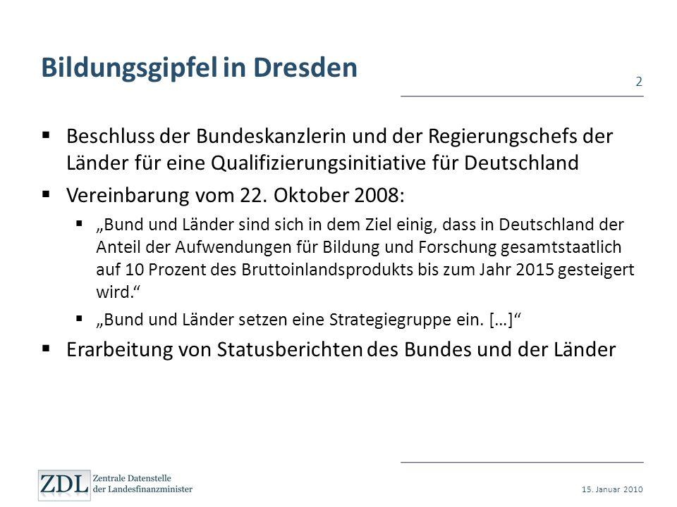 Bildungsgipfel in Dresden Beschluss der Bundeskanzlerin und der Regierungschefs der Länder für eine Qualifizierungsinitiative für Deutschland Vereinba