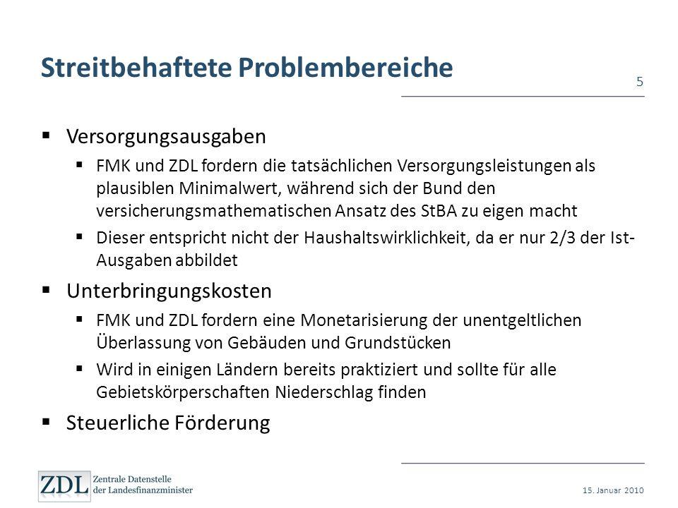 Streitbehaftete Problembereiche Versorgungsausgaben FMK und ZDL fordern die tatsächlichen Versorgungsleistungen als plausiblen Minimalwert, während si
