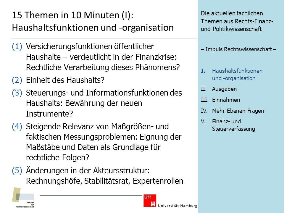 15 Themen in 10 Minuten (I): Haushaltsfunktionen und -organisation (1)Versicherungsfunktionen öffentlicher Haushalte – verdeutlicht in der Finanzkrise: Rechtliche Verarbeitung dieses Phänomens.