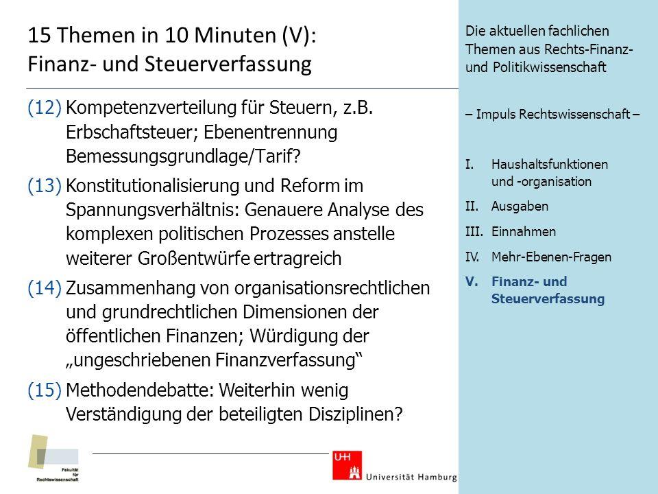 15 Themen in 10 Minuten (V): Finanz- und Steuerverfassung (12)Kompetenzverteilung für Steuern, z.B.