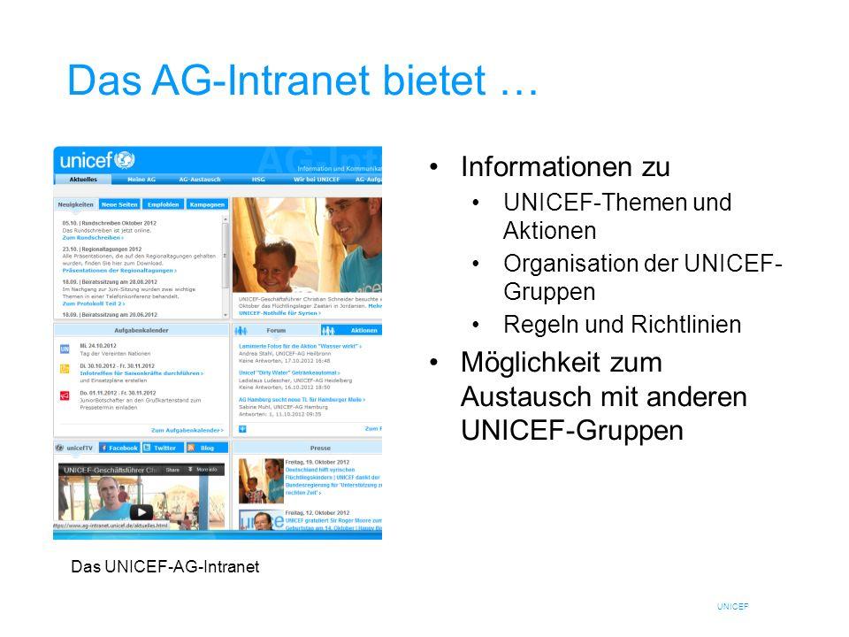 UNICEF Das AG-Intranet bietet … Informationen zu UNICEF-Themen und Aktionen Organisation der UNICEF- Gruppen Regeln und Richtlinien Möglichkeit zum Au