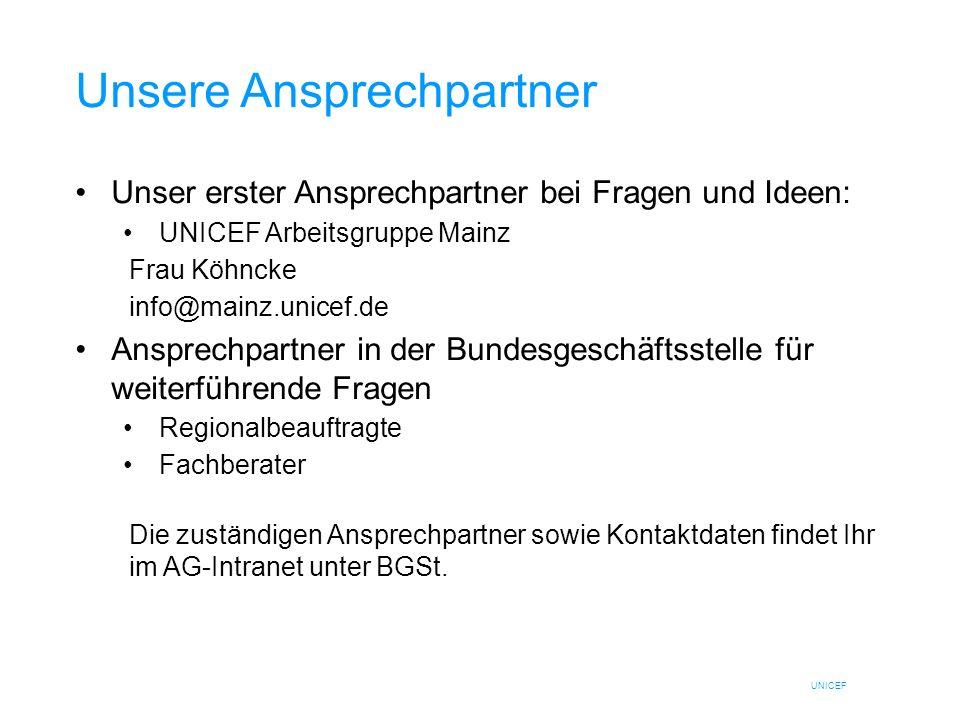 UNICEF Unsere Ansprechpartner Unser erster Ansprechpartner bei Fragen und Ideen: UNICEF Arbeitsgruppe Mainz Frau Köhncke info@mainz.unicef.de Ansprech