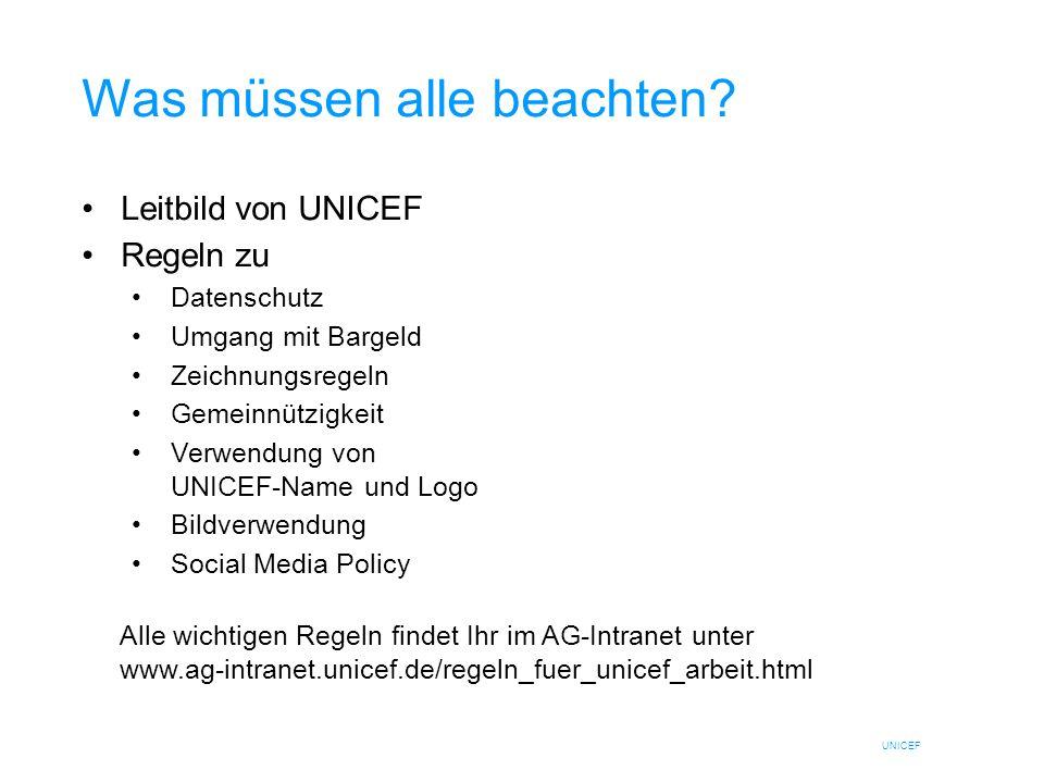 UNICEF Was müssen alle beachten? Leitbild von UNICEF Regeln zu Datenschutz Umgang mit Bargeld Zeichnungsregeln Gemeinnützigkeit Verwendung von UNICEF-