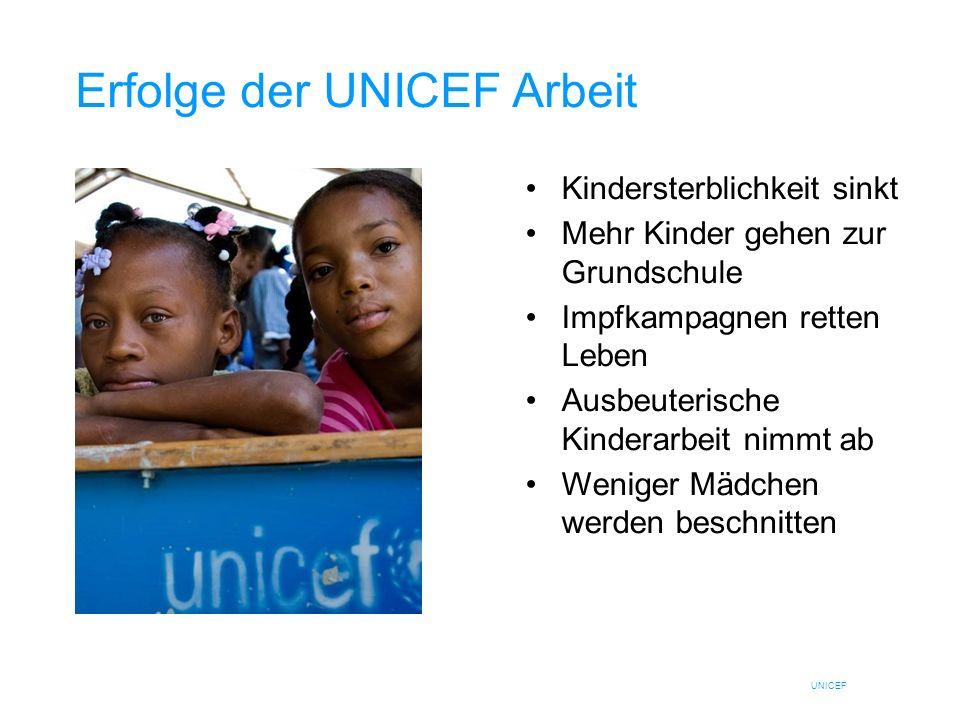 UNICEF Erfolge der UNICEF Arbeit Kindersterblichkeit sinkt Mehr Kinder gehen zur Grundschule Impfkampagnen retten Leben Ausbeuterische Kinderarbeit ni