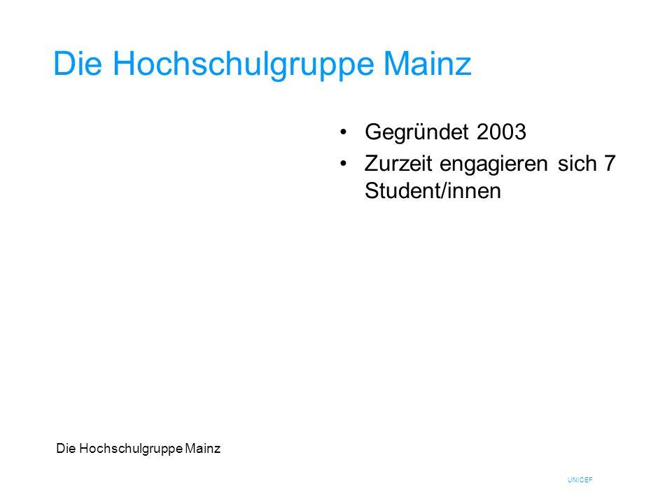 UNICEF Die Hochschulgruppe Mainz Gegründet 2003 Zurzeit engagieren sich 7 Student/innen Die Hochschulgruppe Mainz