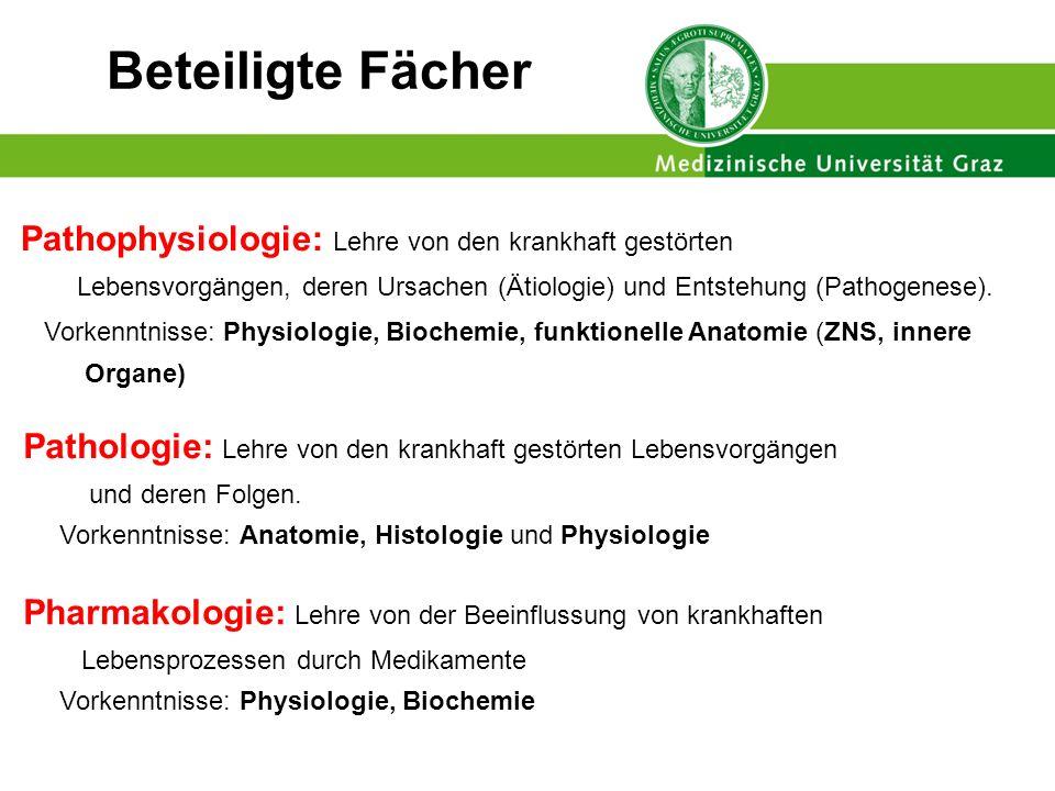 Beteiligte Fächer Pathophysiologie: Lehre von den krankhaft gestörten Lebensvorgängen, deren Ursachen (Ätiologie) und Entstehung (Pathogenese).