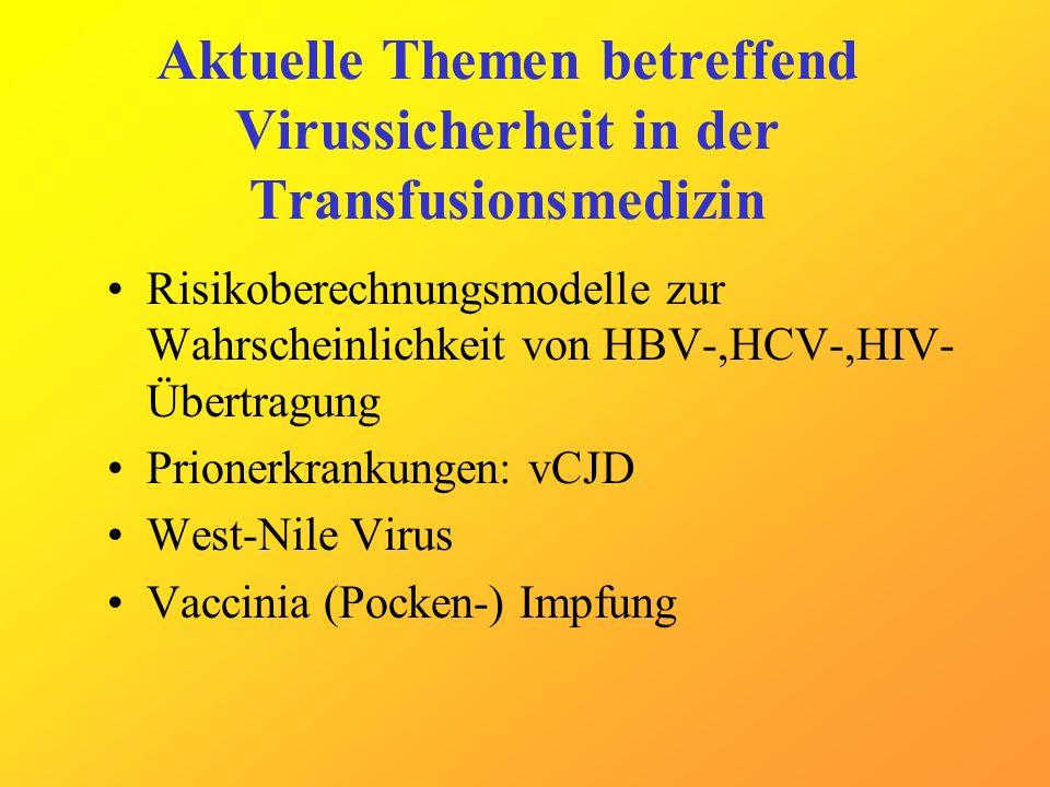 Aktuelle Themen betreffend Virussicherheit in der Transfusionsmedizin Risikoberechnungsmodelle zur Wahrscheinlichkeit von HBV-,HCV-,HIV- Übertragung P
