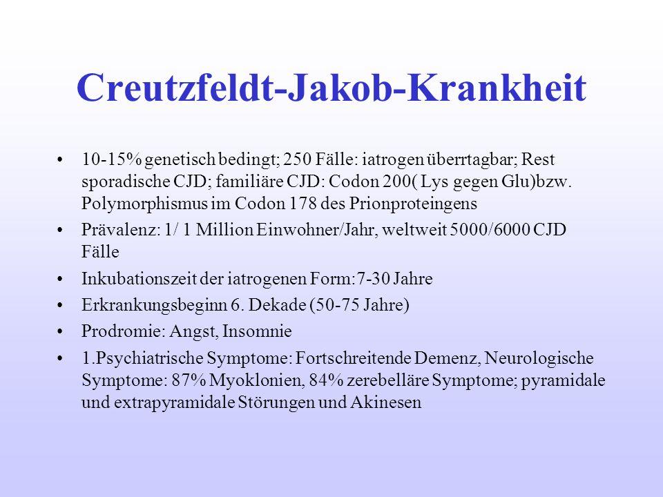 Creutzfeldt-Jakob-Krankheit 10-15% genetisch bedingt; 250 Fälle: iatrogen überrtagbar; Rest sporadische CJD; familiäre CJD: Codon 200( Lys gegen Glu)b