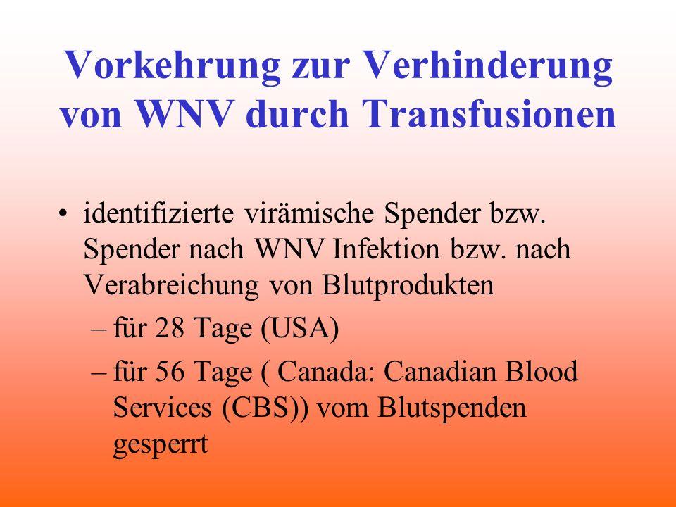 Vorkehrung zur Verhinderung von WNV durch Transfusionen identifizierte virämische Spender bzw. Spender nach WNV Infektion bzw. nach Verabreichung von
