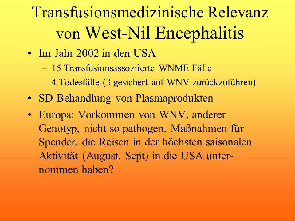 Transfusionsmedizinische Relevanz von West-Nil Encephalitis Im Jahr 2002 in den USA –15 Transfusionsassoziierte WNME Fälle –4 Todesfälle (3 gesichert