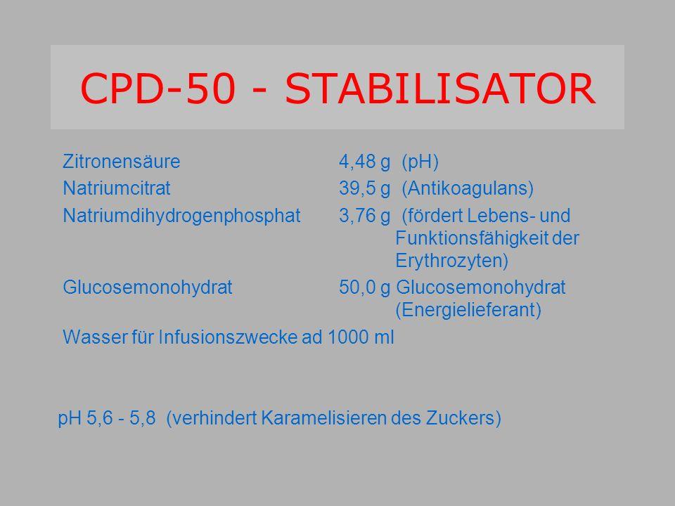 CPD-50 - STABILISATOR Zitronensäure 4,48 g (pH) Natriumcitrat39,5 g (Antikoagulans) Natriumdihydrogenphosphat 3,76 g (fördert Lebens- und Funktionsfähigkeit der Erythrozyten) Glucosemonohydrat50,0 g Glucosemonohydrat (Energielieferant) Wasser für Infusionszwecke ad 1000 ml pH 5,6 - 5,8 (verhindert Karamelisieren des Zuckers)