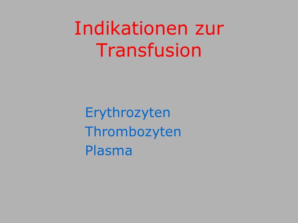 Indikationen zur Transfusion Erythrozyten Thrombozyten Plasma