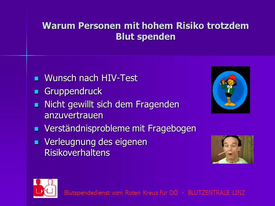 Blutspendedienst vom Roten Kreuz für OÖ - BLUTZENTRALE LINZ Warum Personen mit hohem Risiko trotzdem Blut spenden Wunsch nach HIV-Test Wunsch nach HIV