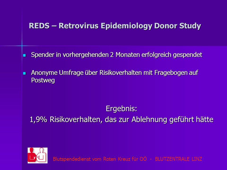 Blutspendedienst vom Roten Kreuz für OÖ - BLUTZENTRALE LINZ REDS – Retrovirus Epidemiology Donor Study Spender in vorhergehenden 2 Monaten erfolgreich