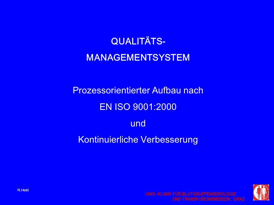 UNIV.-KLINIK FÜR BLUTGRUPPENSEROLOGIE UND TRANSFUSIONSMEDIZIN, GRAZ UNIV.-KLINIK FÜR BLUTGRUPPENSEROLOGIE UND TRANSFUSIONSMEDIZIN, GRAZ QUALITÄTS- MANAGEMENTSYSTEM Prozessorientierter Aufbau nach EN ISO 9001:2000 und Kontinuierliche Verbesserung R.Heid