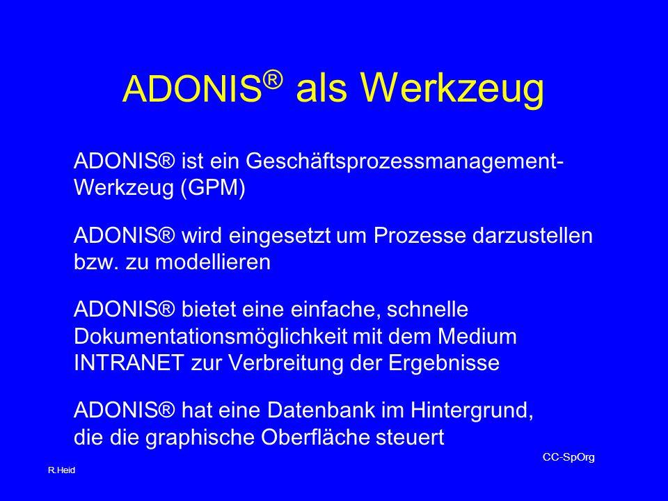 ADONIS ® als Werkzeug ADONIS® ist ein Geschäftsprozessmanagement- Werkzeug (GPM) ADONIS® wird eingesetzt um Prozesse darzustellen bzw.