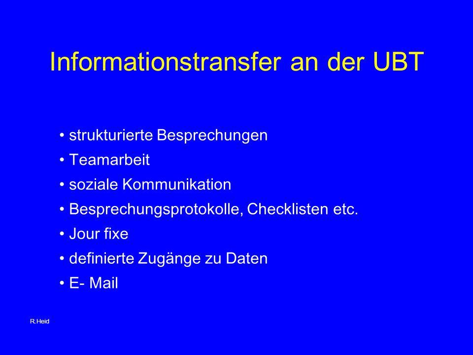 Informationstransfer an der UBT strukturierte Besprechungen Teamarbeit soziale Kommunikation Besprechungsprotokolle, Checklisten etc.