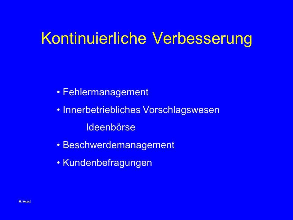 Kontinuierliche Verbesserung Fehlermanagement Innerbetriebliches Vorschlagswesen Ideenbörse Beschwerdemanagement Kundenbefragungen R.Heid