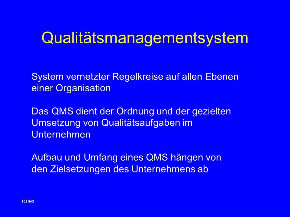 Qualitätsmanagementsystem System vernetzter Regelkreise auf allen Ebenen einer Organisation Das QMS dient der Ordnung und der gezielten Umsetzung von Qualitätsaufgaben im Unternehmen Aufbau und Umfang eines QMS hängen von den Zielsetzungen des Unternehmens ab R.Heid