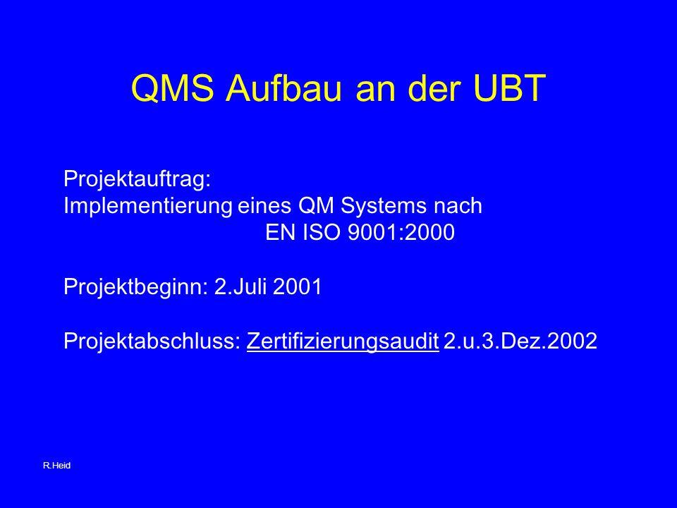 QMS Aufbau an der UBT Projektauftrag: Implementierung eines QM Systems nach EN ISO 9001:2000 Projektbeginn: 2.Juli 2001 Projektabschluss: Zertifizierungsaudit 2.u.3.Dez.2002 R.Heid