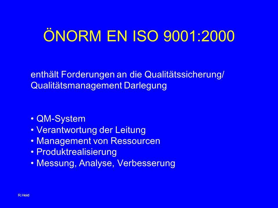 ÖNORM EN ISO 9001:2000 enthält Forderungen an die Qualitätssicherung/ Qualitätsmanagement Darlegung QM-System Verantwortung der Leitung Management von Ressourcen Produktrealisierung Messung, Analyse, Verbesserung R.Heid