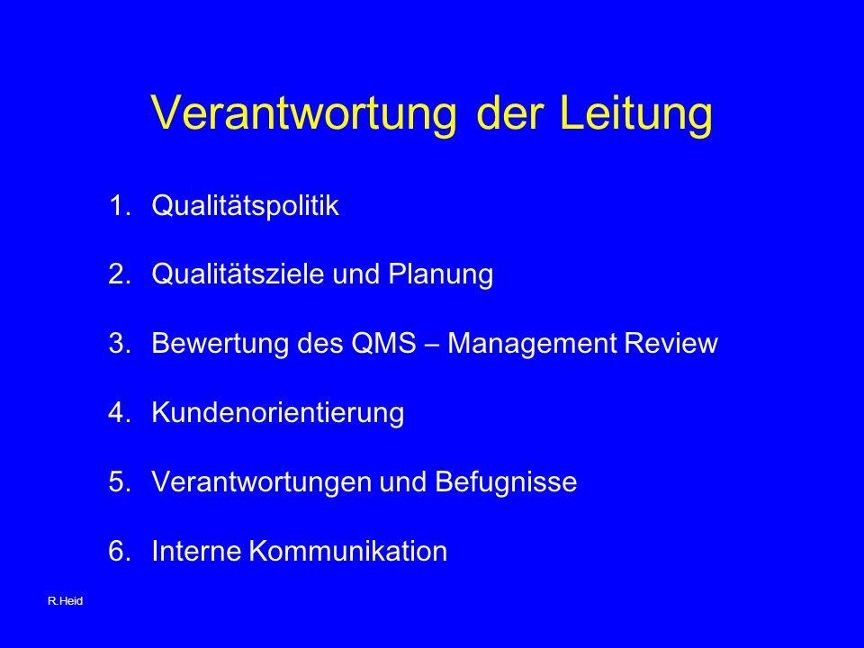 Verantwortung der Leitung 1.Qualitätspolitik 2.Qualitätsziele und Planung 3.Bewertung des QMS – Management Review 4.Kundenorientierung 5.Verantwortungen und Befugnisse 6.Interne Kommunikation R.Heid