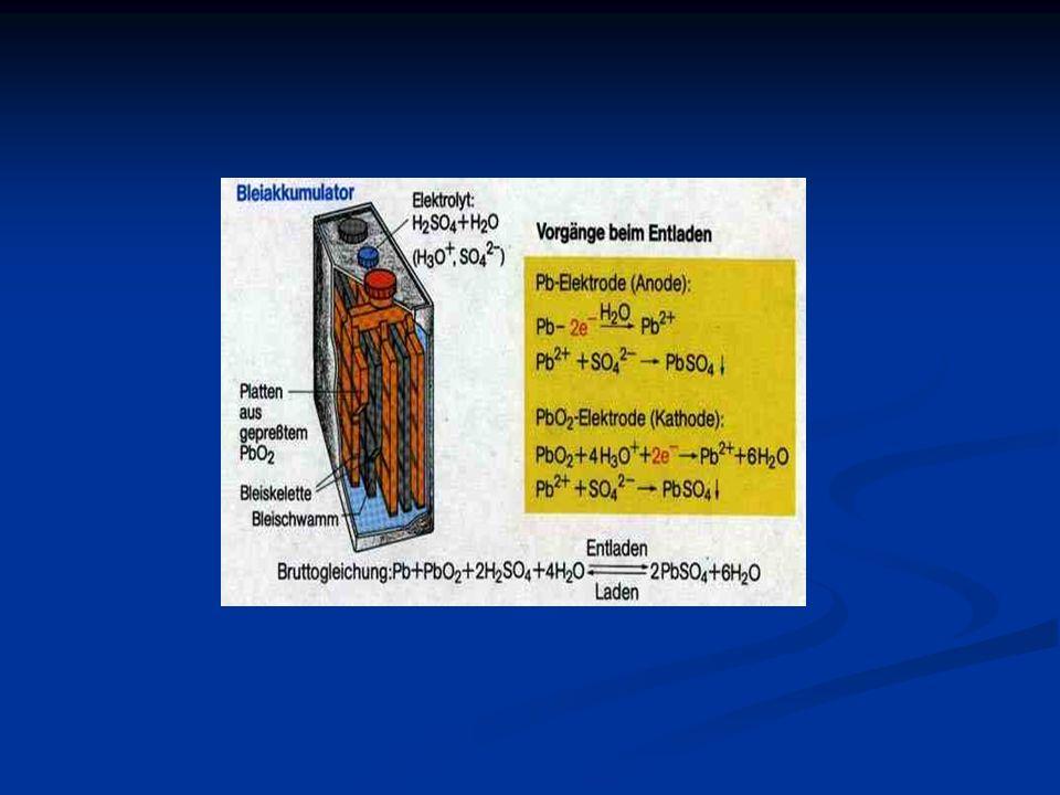 An der Anode findet die Oxidation statt + Pol: An der Kathode findet die Reduktion statt - Pol: Redox-Gleichung: Zusammengefasst: