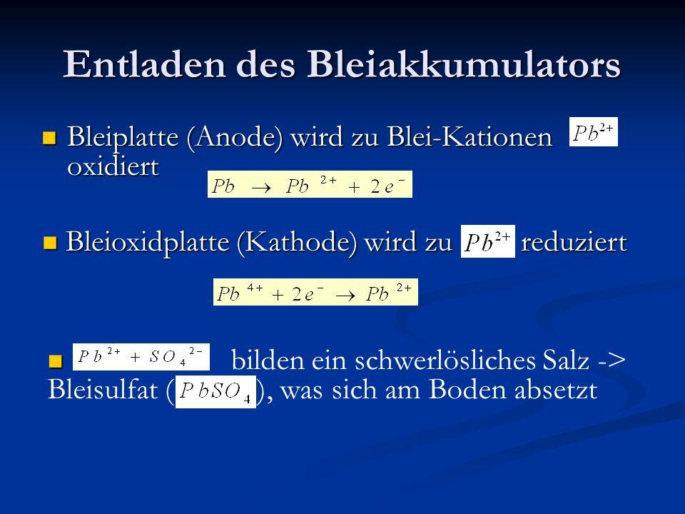 Entladen des Bleiakkumulators Negativer Pol (Anode)ist eine Bleiplatte ( ) Negativer Pol (Anode)ist eine Bleiplatte ( ) Positiver Pol (Kathode) ist eine Blei( | V)oxidplatte ( ) Elektrolytlösung: Schwefelsäure ( ) Pro Zelle wird eine Spannung von 2 Volt nerzeugt