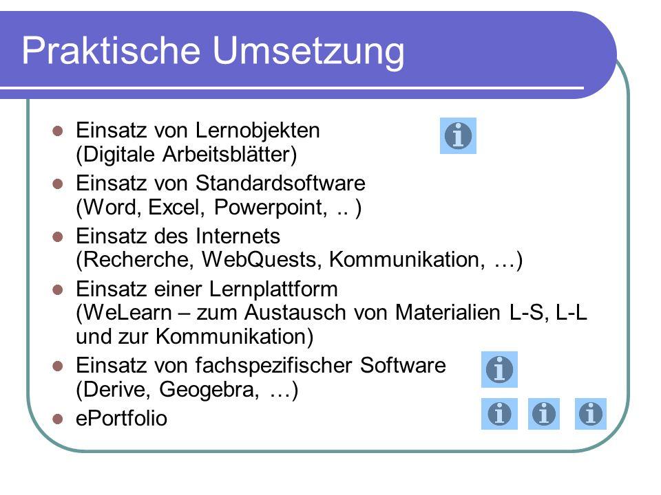 Praktische Umsetzung Einsatz von Lernobjekten (Digitale Arbeitsblätter) Einsatz von Standardsoftware (Word, Excel, Powerpoint,..