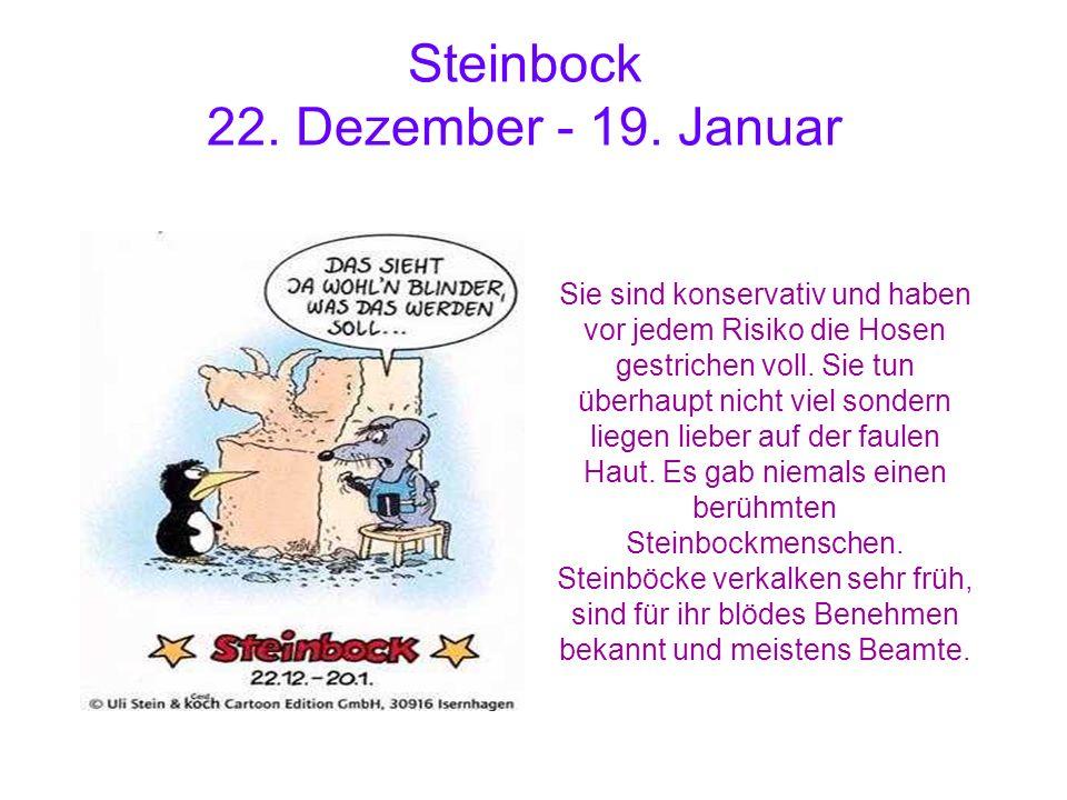 Steinbock 22. Dezember - 19. Januar Sie sind konservativ und haben vor jedem Risiko die Hosen gestrichen voll. Sie tun überhaupt nicht viel sondern li