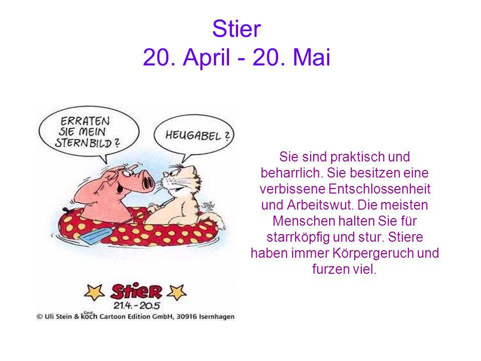 Stier 20. April - 20. Mai Sie sind praktisch und beharrlich. Sie besitzen eine verbissene Entschlossenheit und Arbeitswut. Die meisten Menschen halten