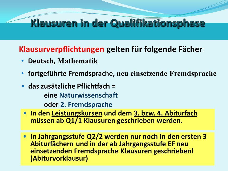 Klausuren in EF bei nur einer Klausur In den Gesellschaftswissenschaften, Naturwissenschaften, Kunst/Musik bzw. Religion/Philosophie wird in EF/1 nur