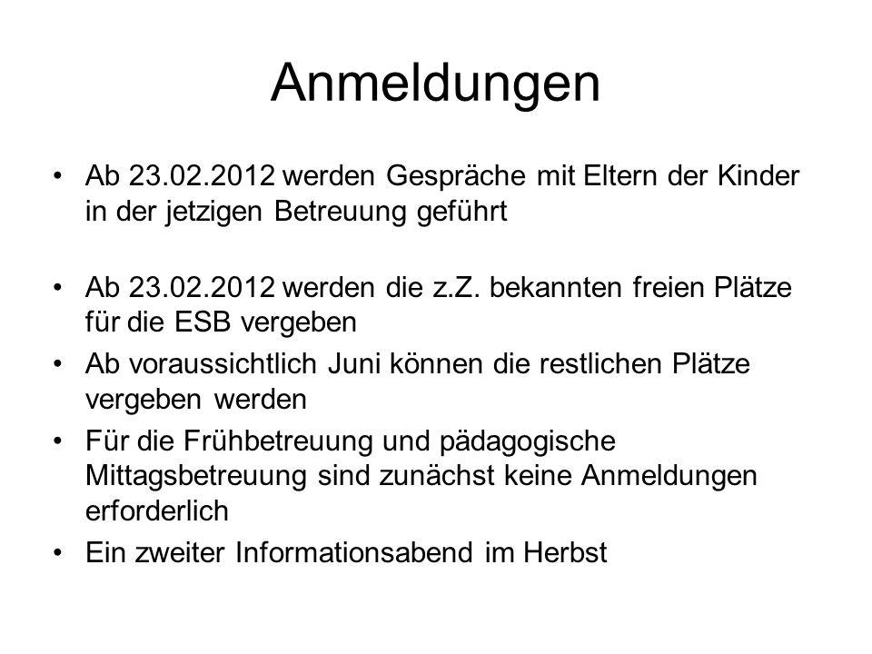 Anmeldungen Ab 23.02.2012 werden Gespräche mit Eltern der Kinder in der jetzigen Betreuung geführt Ab 23.02.2012 werden die z.Z.