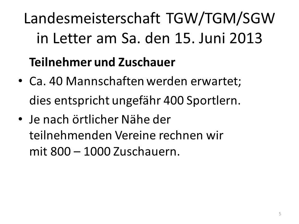 Landesmeisterschaft TGW/TGM/SGW in Letter am Sa. den 15. Juni 2013 Teilnehmer und Zuschauer Ca. 40 Mannschaften werden erwartet; dies entspricht ungef