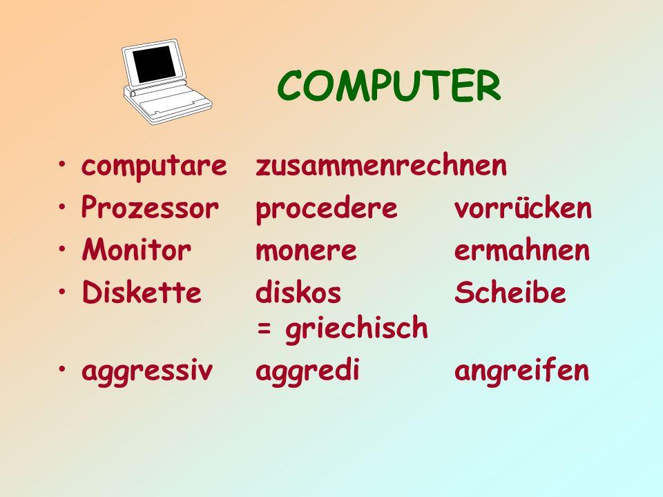 COMPUTER computarezusammenrechnen Prozessorprocederevorrücken Monitormonereermahnen DiskettediskosScheibe = griechisch aggressivaggrediangreifen
